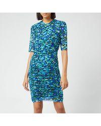 Ganni Printed Mesh Short Dress - Blue