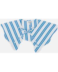 Ganni Stripe Cotton Collar - Blue