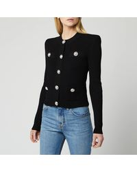 Balmain Buttoned Pleated Knit Cardigan - Black