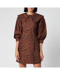 Ganni Leopard Print Cotton Poplin Bib Dress - Brown