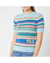 Polo Ralph Lauren Striped Short-sleeve Sweater - Blue