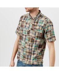 Universal Works | Men's Patchwork Check Camp Collar Short Sleeve Shirt | Lyst