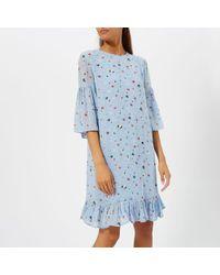 Ganni - Women's Dainty Georgette Mini Dress - Lyst