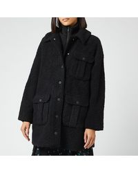 Ganni Boucle Wool Coat - Black