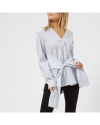 T By Alexander Wang - Women's Combo Striped Tie Front Shirt - Lyst