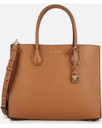 Michael Kors Mercer Large Pebbled Leather Accordion Tote Bag - Brown
