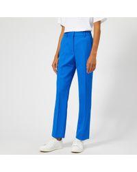 Victoria, Victoria Beckham Fluid Wool Twill Straight Leg Pants - Blue