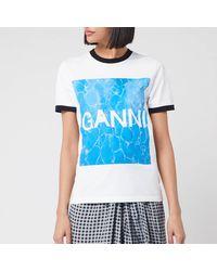 Ganni Logo Graphic Print T-shirt - White