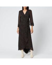 Ganni Printed Georgette Wrap Dress - Black