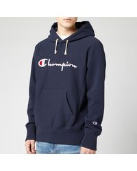 Champion Big Script Hooded Sweatshirt - Blue