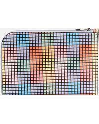 Ganni Check Print Leather Pouch - Multicolor