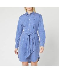 Polo Ralph Lauren Long Sleeve Stripe Shirt Dress - Blue