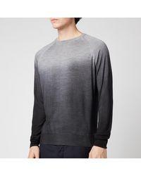 Canali Wool Silk Fade Crewneck Jumper - Grey