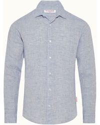 Orlebar Brown Giles Linen Shirt - Blue