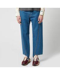 Lanvin Washed Denim Twisted Seam Jeans - Blue