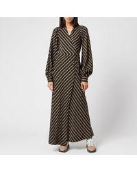 Ganni Viscose Stripe Wrap Dress - Black