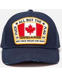 DSquared² Flag Patch Cotton Canvas Baseball Hat - Blue