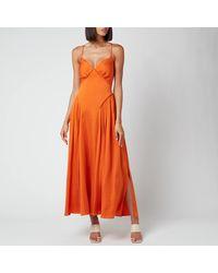Self-Portrait Burnt Orange Tie Bodice Midi Dress