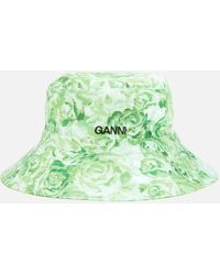 Ganni Printed Bucket Hat - Green