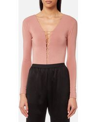 4564e0bda6762 T By Alexander Wang - Stretch Jersey Bodysuit With Bungee Lacing - Lyst