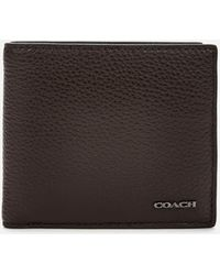 COACH Pebble Leather Coin Wallet - Black
