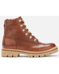 Grenson Rutherford Hand Painted Leather Hiking Style Boots - Brown