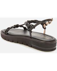 Stuart Weitzman Calypso Leather Flatform Sandals - Black