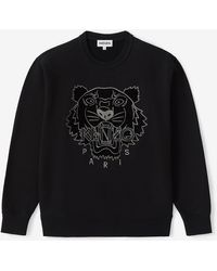 KENZO Velvet Tigerhead Embroidered Crewneck Sweatshirt - Black