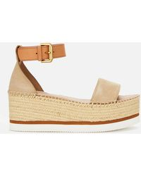 See By Chloé Glyn Leather Flatform Espadrilles - Natural