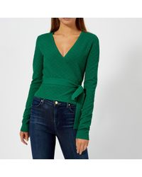 4967e02b7881a Lyst - Diane von Furstenberg Long-sleeve Cropped Wrap Sweater in Blue