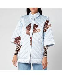 Ganni Heavy Satin Quilted Floral Print Jacket - Blue