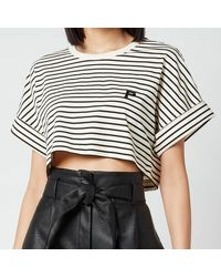 Philosophy Di Lorenzo Serafini Cropped Stripe T-shirt - White