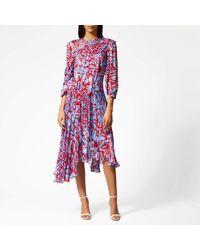 Preen By Thornton Bregazzi Helen Asymmetric-hem Silk-blend Dress - Red