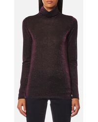 Maison Scotch - Women's Long Sleeve Fitted Turtle Neck Top - Lyst