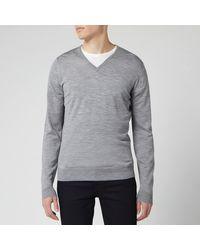 John Smedley Blenheim 30 Gauge Extra Fine V Neck Sweater - Gray