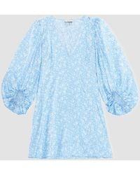 Ganni Silk Stetch Satin Mini Dress - Blue