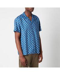 YMC Malick Dot Short Sleeve Shirt - Blue
