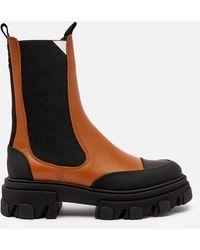 Ganni Leather Chelsea Boots - Black