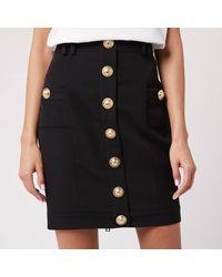 Balmain Short Buttoned Grain De Poudre Skirt - Black