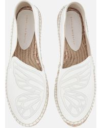 Sophia Webster Butterfly Embroidered Textured-leather Espadrilles - White