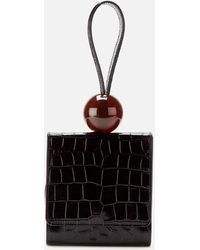 BY FAR Ball Croco Embossed Leather Clutch Bag - Black