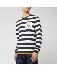 Kent & Curwen Striped Rose Patch Sweat, Regular Fit Sweatshirt - Blue