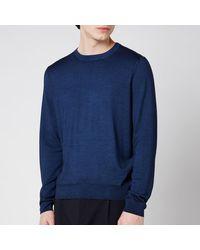 Canali Cotton Crewneck Long Sleeve Top - Blue