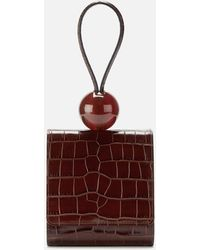 BY FAR Ball Croco Embossed Leather Clutch Bag - Multicolor