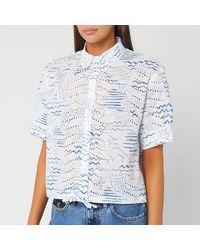 KENZO Cropped Drawstring Shirt - Blue