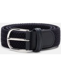 Andersons Polished Silver Buckle Woven Belt - Blue