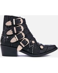 Toga Pulla - Buckle Leather Heeled Ankle Boots - Lyst