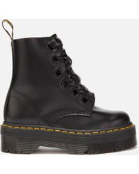Dr. Martens Molly Buttero Leather 6-eye Boots - Black