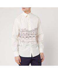 Lanvin Straight Shirt Babar Beach Huts Print - White