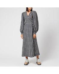 Ganni Seersucker Check Long Sleeve Maxi Dress - Black